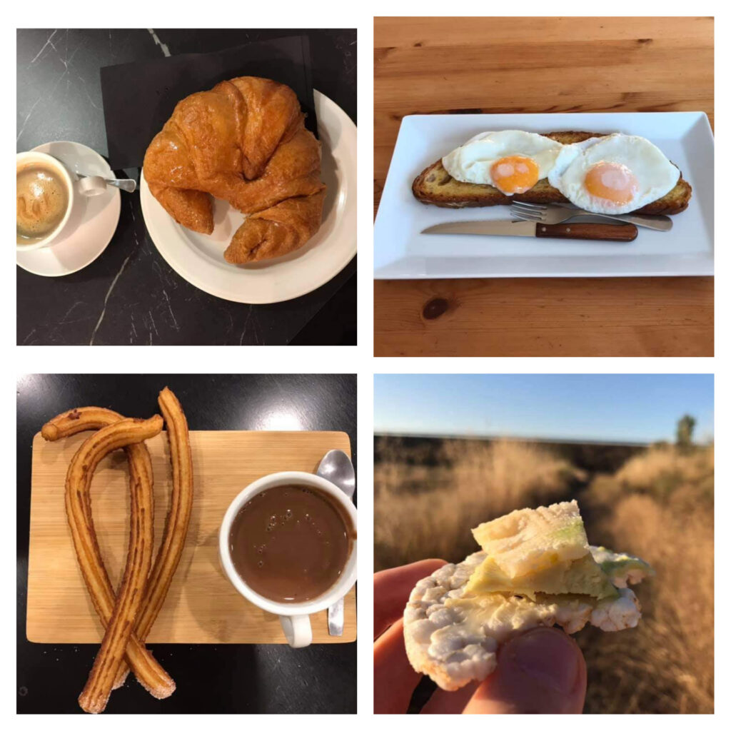 Assortment of breakfasts available on the Camino.