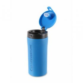 Flip Top Thermal Mug - Blue Open
