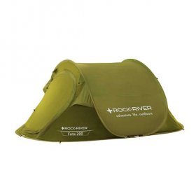 pitched pop up tent